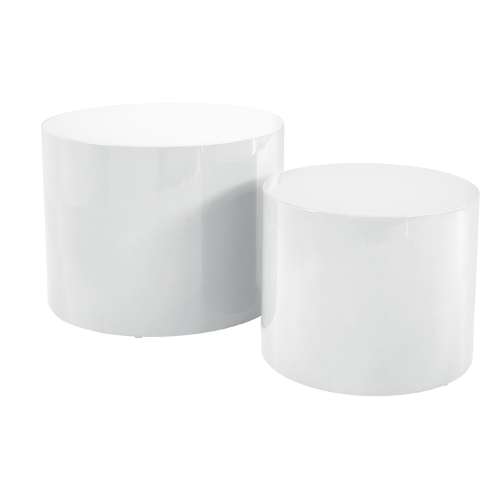 Circular gloss stacking side tables white