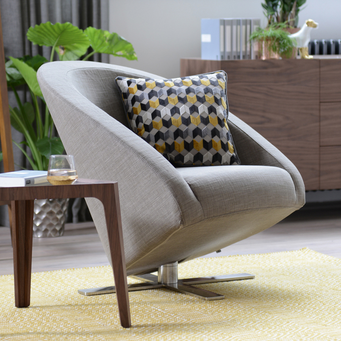 Cross base swivelling armchair mocha