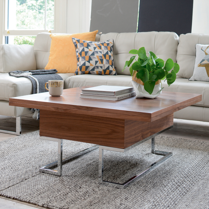 Convertible coffee table walnut