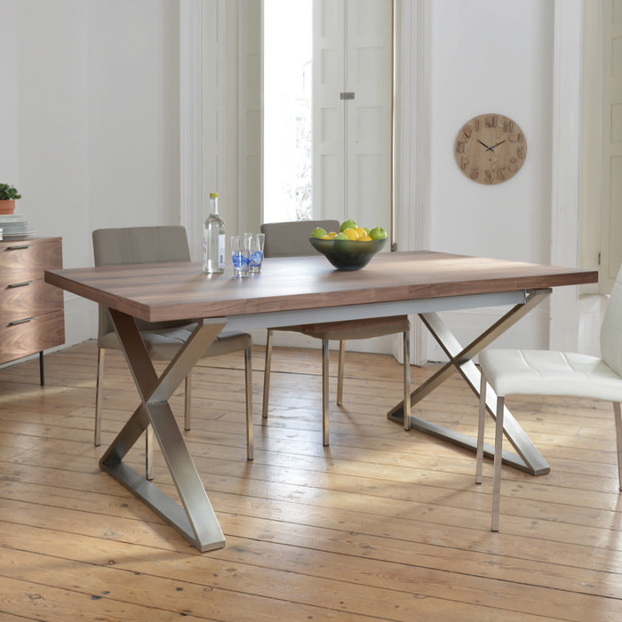 Crossed leg walnut extending 6-10 seater dining table brushed steel leg