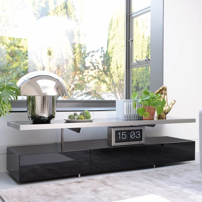 Floating shelf TV unit black