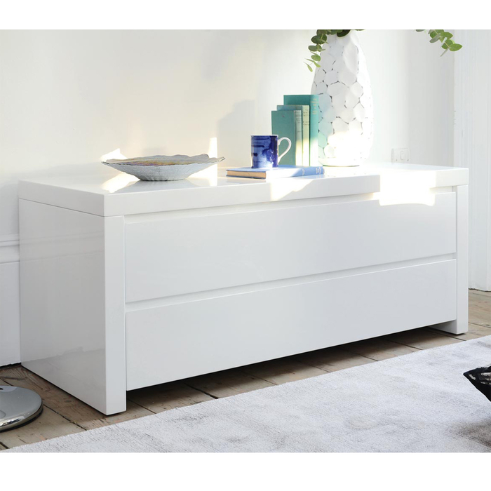 Newton storage TV unit white
