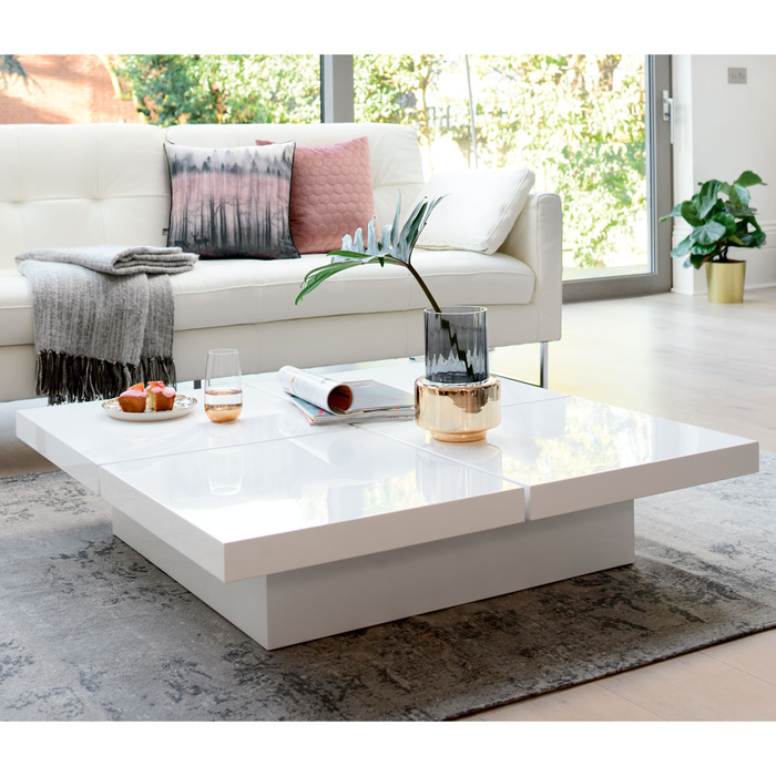 Four block storage coffee table white