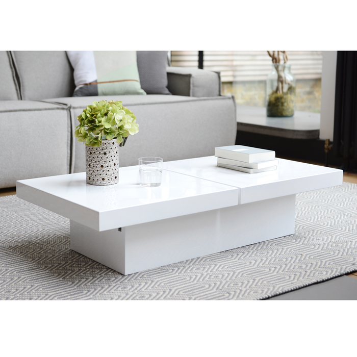 Coffee Table With Storage Uk: Two Block Storage Coffee Table White