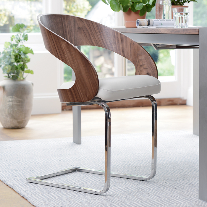 Curved padded dining chair walnut and off white