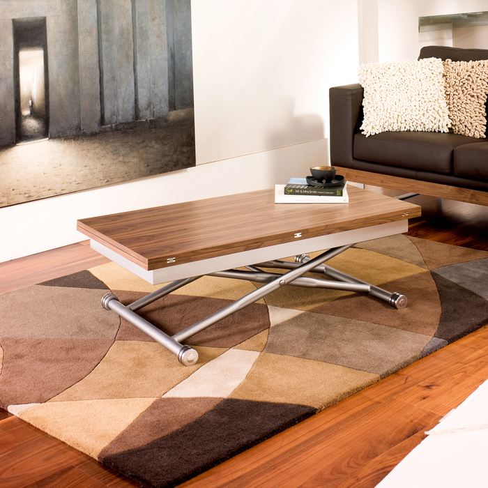 rise extending coffee table walnut - dwell