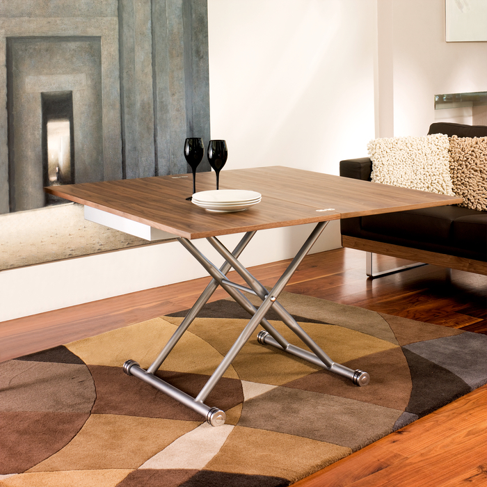 Rise extending coffee table walnut