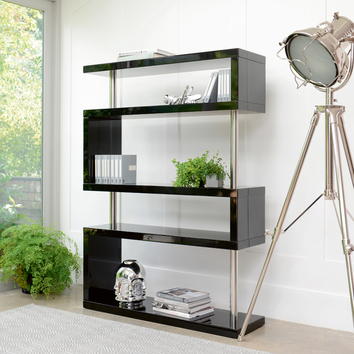 Contour wide shelving black