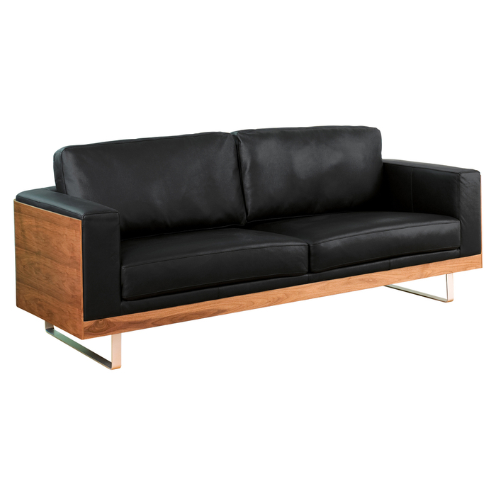 firenze leather three seater sofa black  dwell