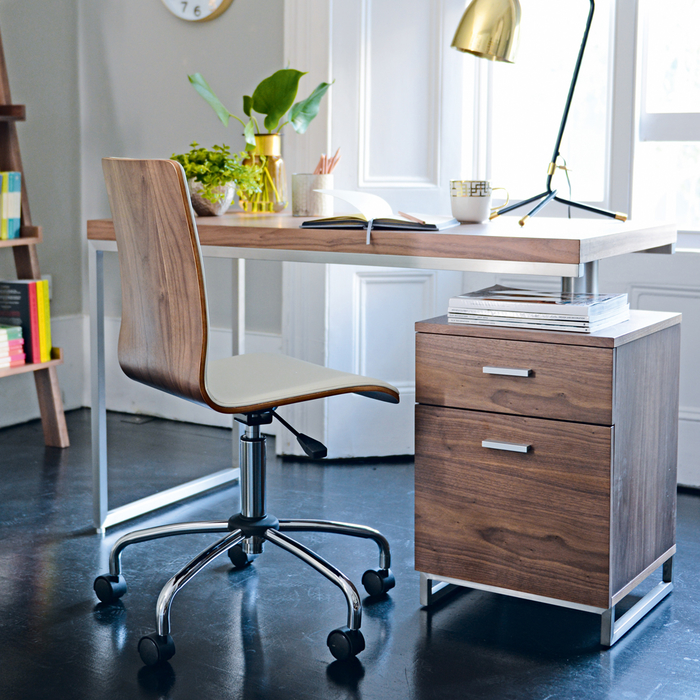 Reversible desk and drawers walnut