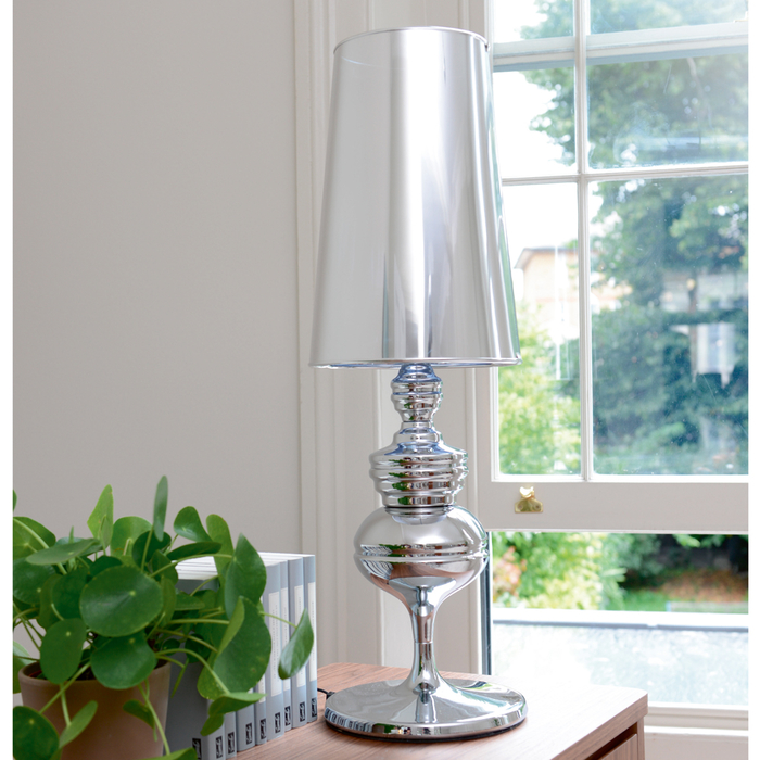 Tapered shade oversized table light chrome