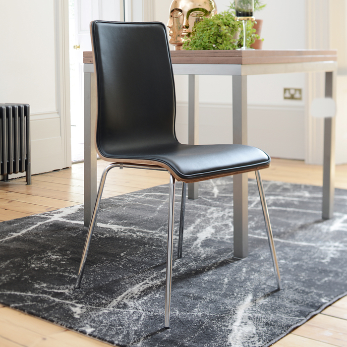 Straight walnut back dining chair black