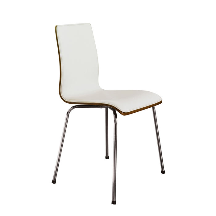 Straight walnut back dining chair white
