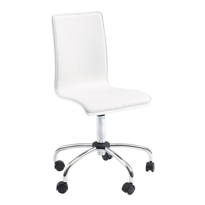 Straight back gloss home office chair white