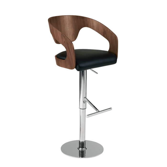 Curved padded bar stool black