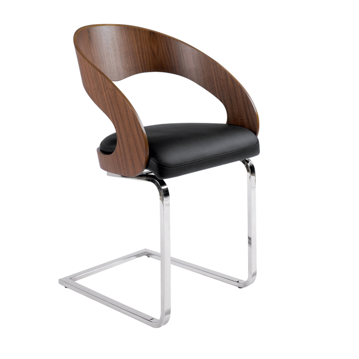 Curved padded dining chair walnut and black