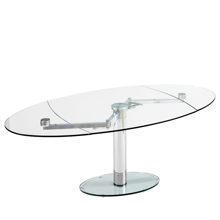 luca glass extending dining table clear - dwell