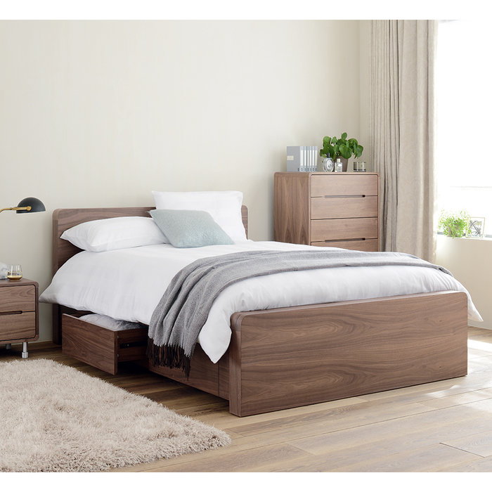 Notch Bed Double With Drawers Walnut Dwell
