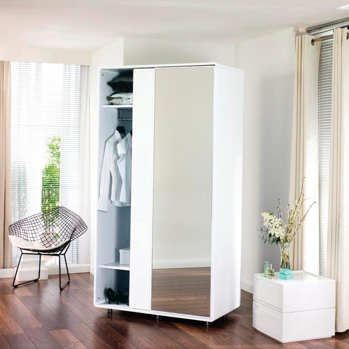 Malone sliding mirror door wardrobe white