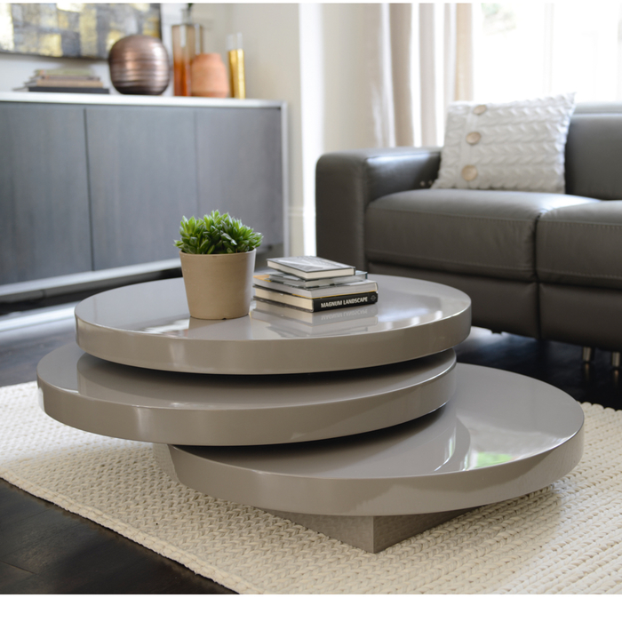 Triplo round gloss swivel coffee table stone