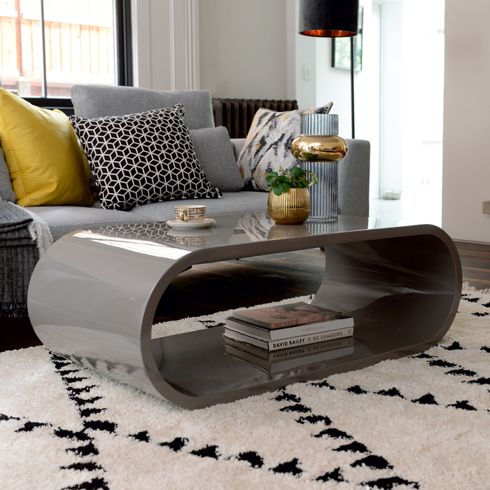 Oval gloss coffee table stone