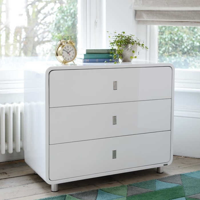 Malone wide chest of drawers white