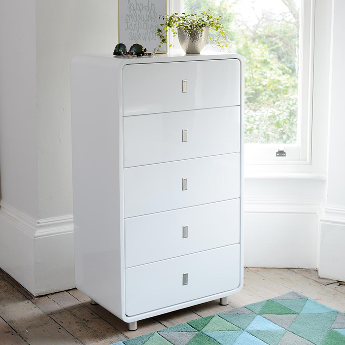 Malone five drawer chest of drawers white