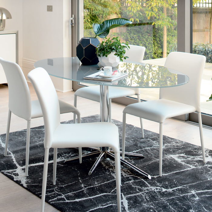 Stellar base glass 6 seater dining table stone