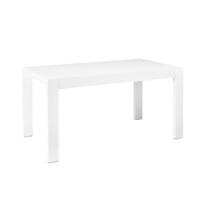 Double extending dining table white gloss