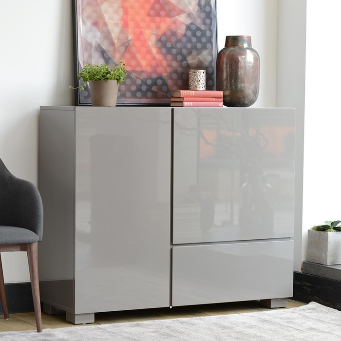 Square gloss sideboard stone