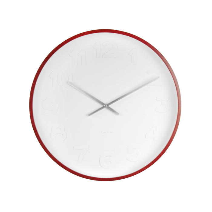 Red edge white face clock large