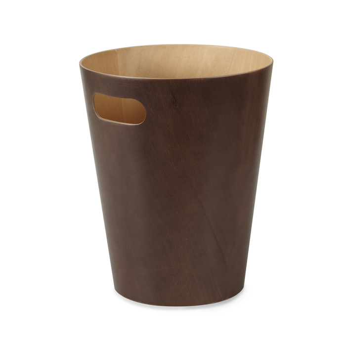 Round wooden bin brown