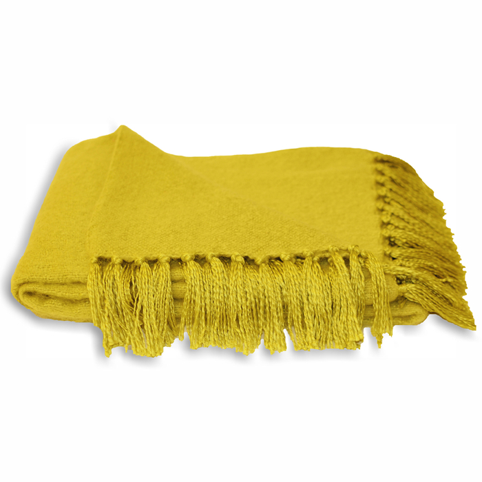 Fringe throw mustard