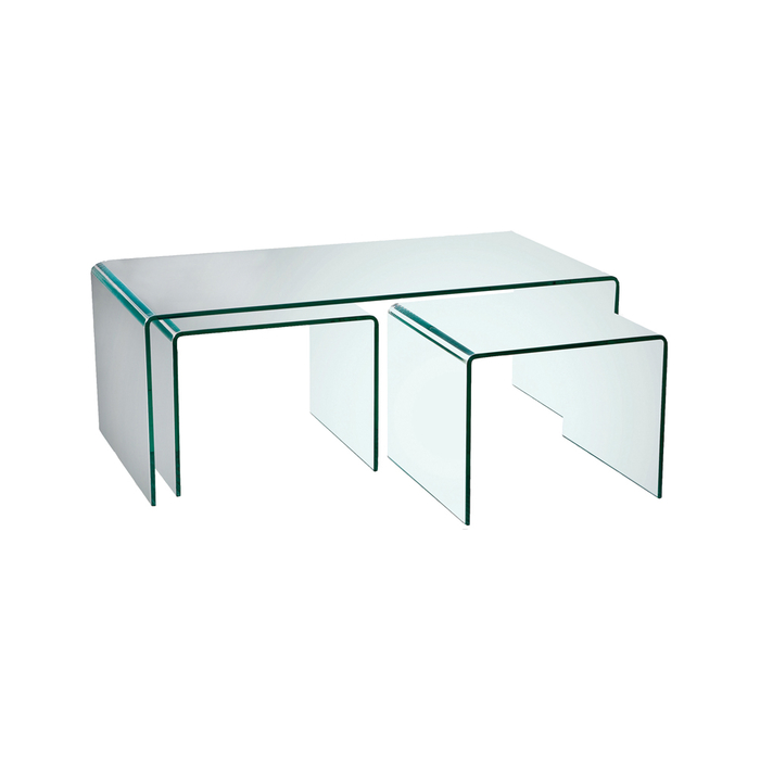 Glass Coffee Tables Set: Puro Glass Coffee Table Set