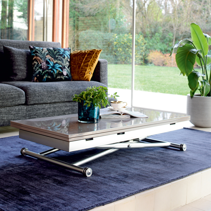 Rise extending coffee table stone