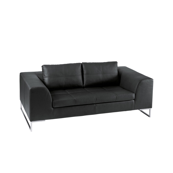 Vienna leather two seater sofa black