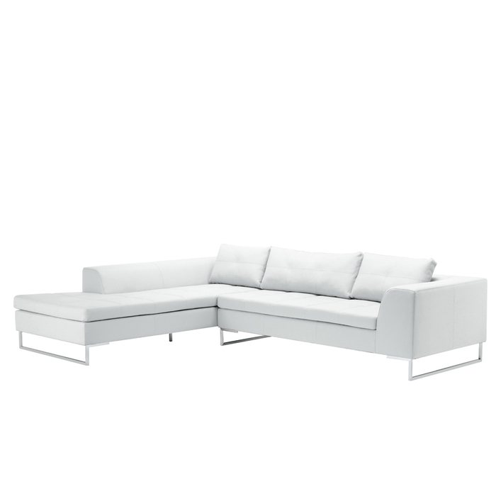 Vienna leather left hand corner sofa white