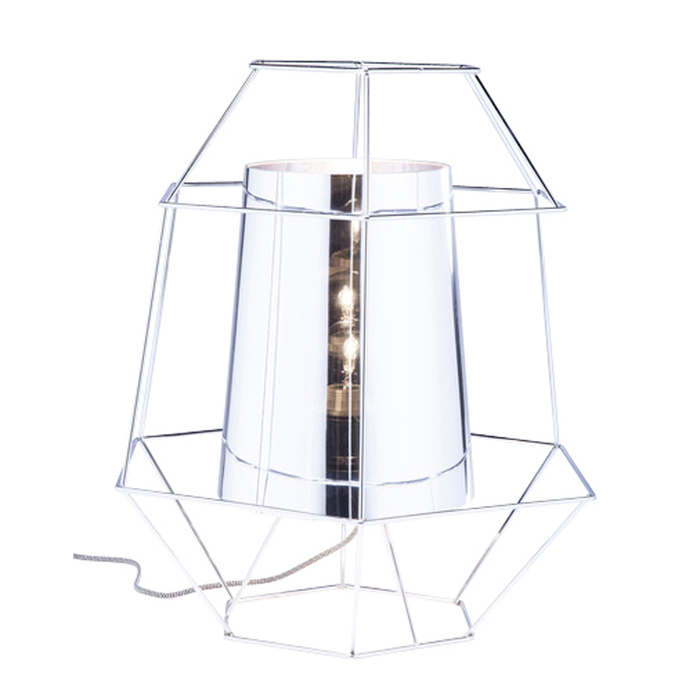 Wire cage table light silver
