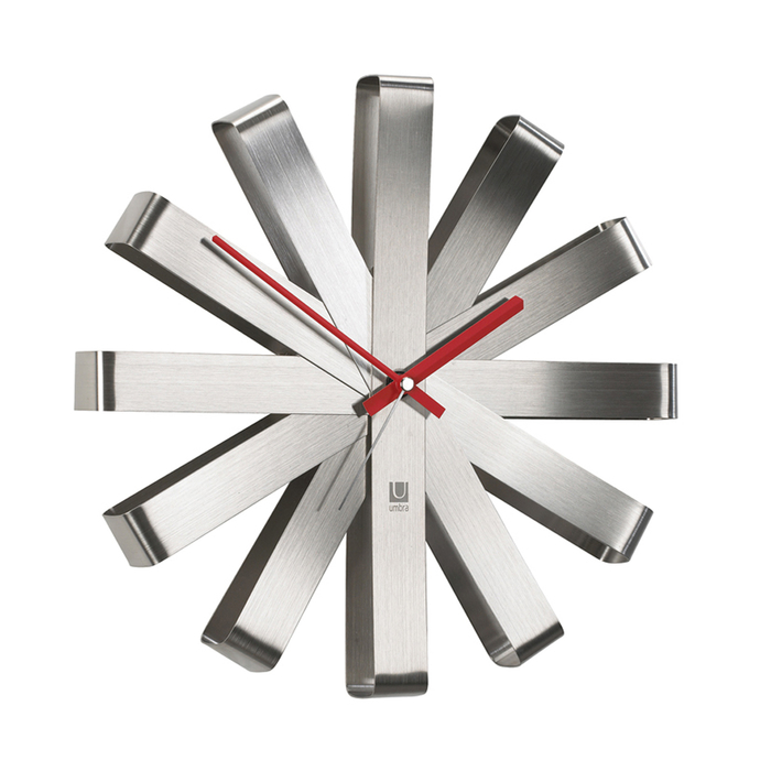 Ribbon wall clock silver