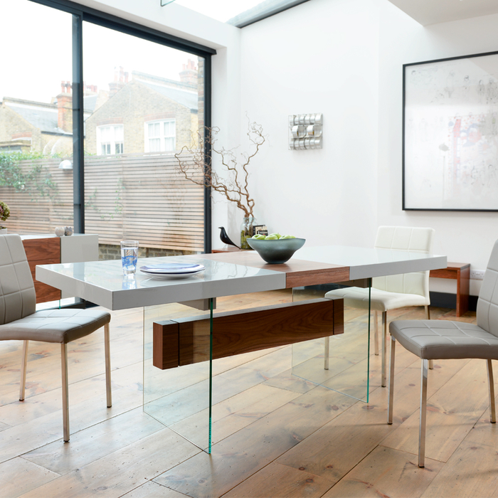 Treble extending 6-8 seater dining table light grey and walnut