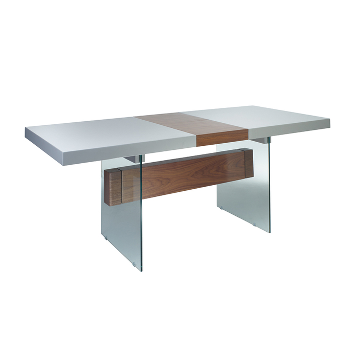 Treble extending dining table light grey and walnut