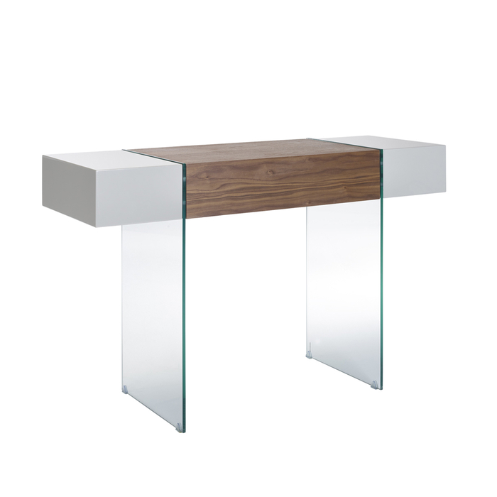 Treble console table light grey and walnut