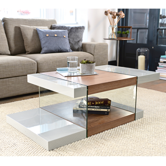 Treble coffee table light grey and walnut