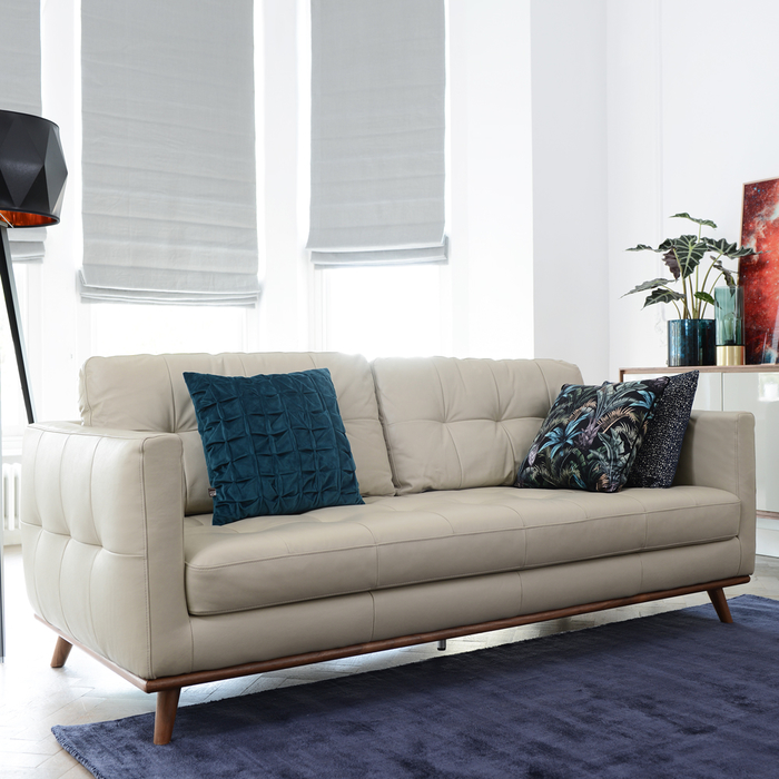 Marseille leather three seater sofa stone