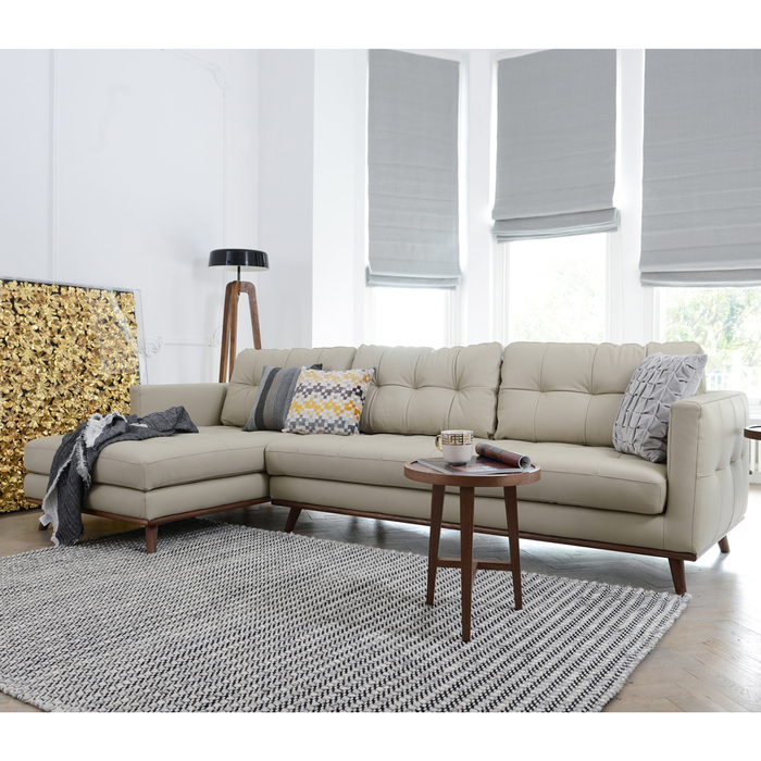 Marseille leather left hand corner sofa stone