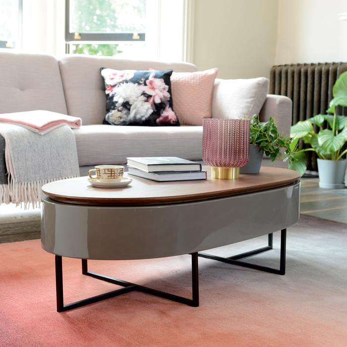 Pod lift up coffee table walnut