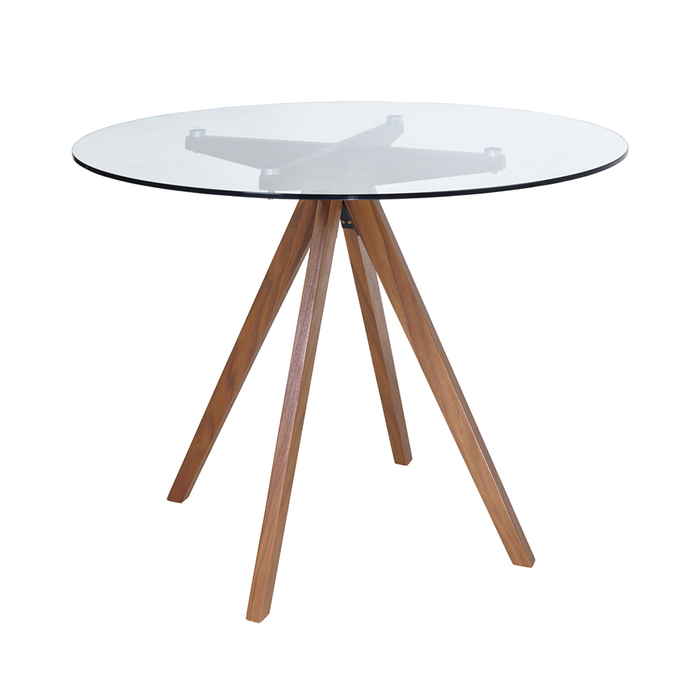 Compass clear glass dining table with walnut coated legs