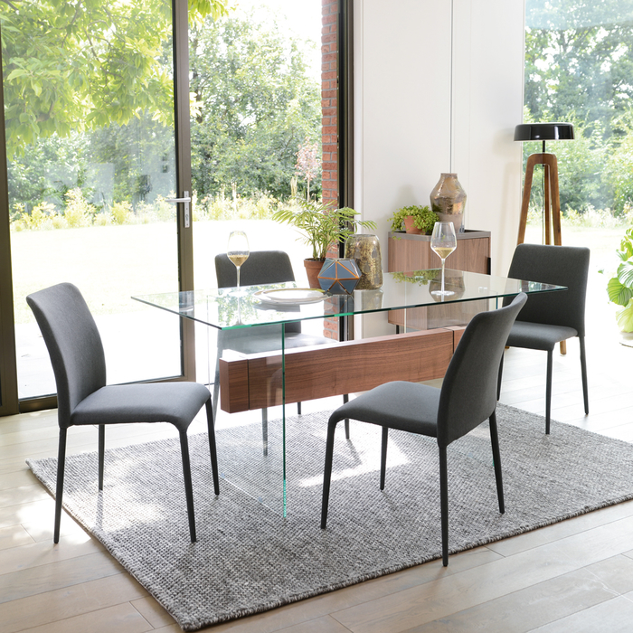 Treble Glass 6 Seater Dining Table Dwell