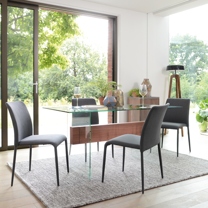 Treble glass 6 seater dining table