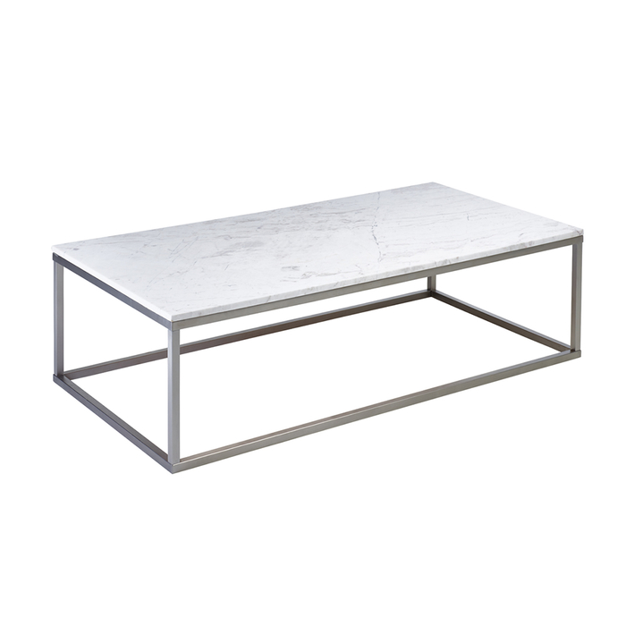 Marble rectangular coffee table white